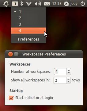 ئۇبۇنتۇ 11.04 خىزمەت رايونىنى بەلگىلەشتە ئىشلىتىلىدىغان دېتال Indicator Workspaces
